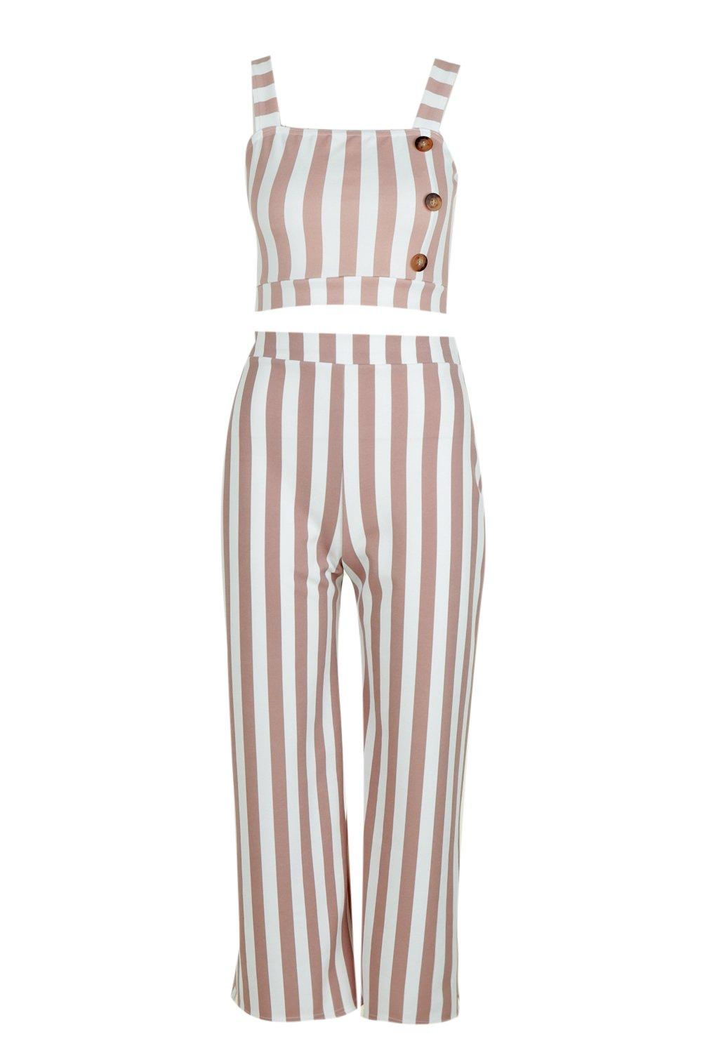 Square Bralet Stripe Co Neck pink Trouser ord zqx4ad