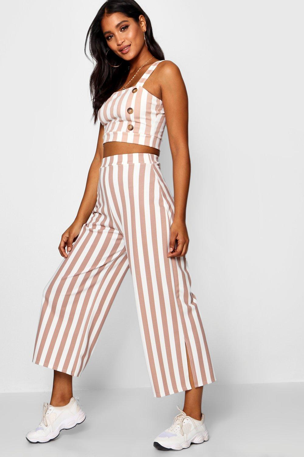 Trouser Stripe Bralet Square Neck Co ord pink trwrFEqx