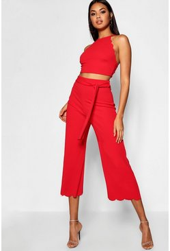 Womens Red Scallop Hem Top & Culotte Co-ord