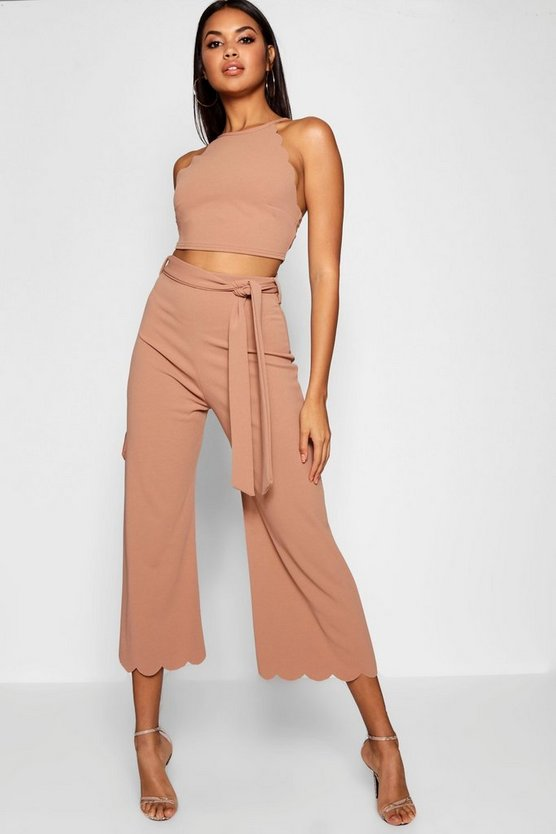 Womens Stone Scallop Hem Top & Culotte Co-ord