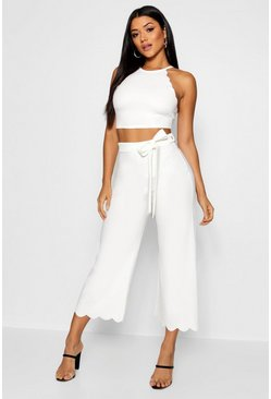 White Scallop Hem Top & Culotte Co-ord