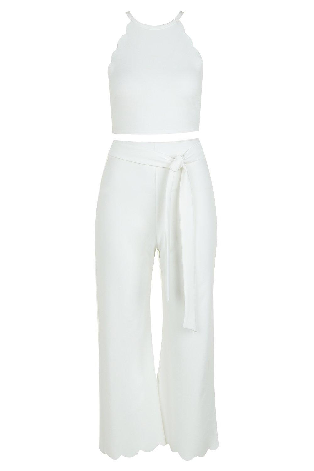 Co ord Top Scallop Culotte Hem amp; white xvqI4xOPw