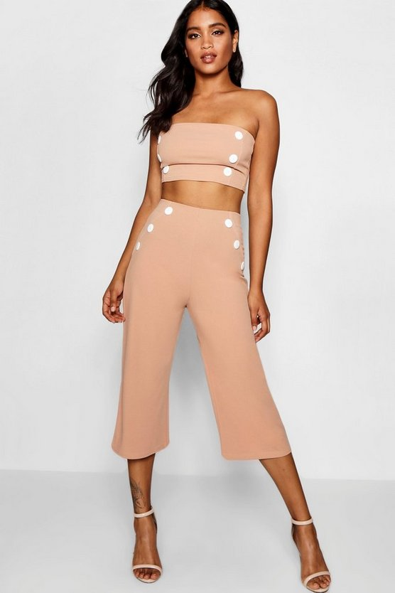 Womens Camel Hailey Contrast Stitch Button Culotte Co-ord
