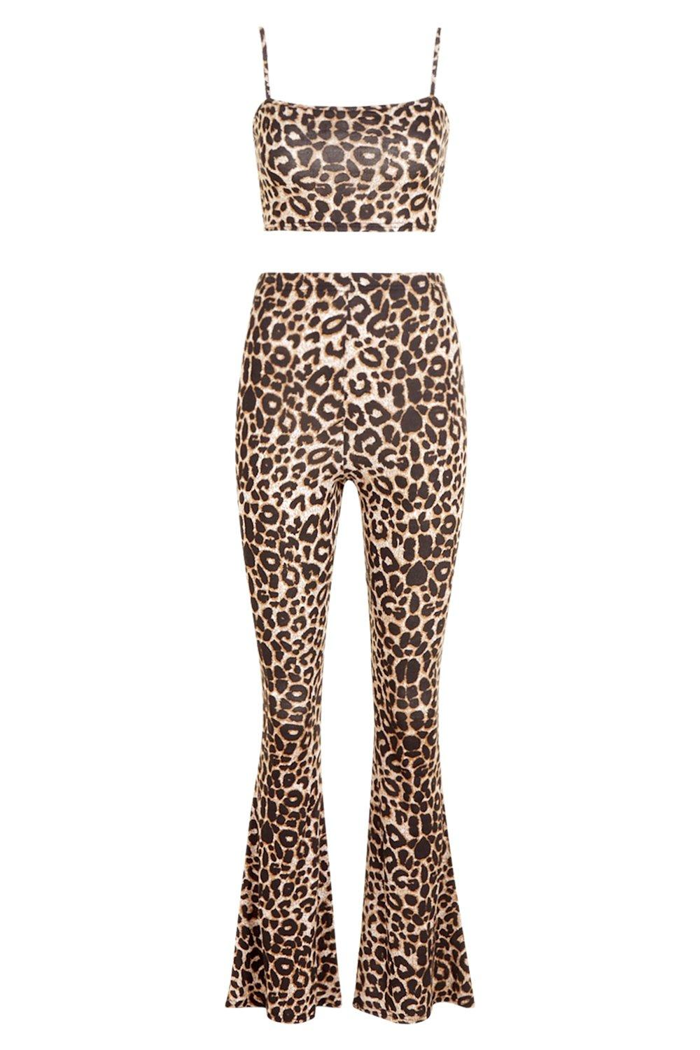 Kick Co ord Strappy Trouser brown Set Top Crop Flare ExwFpq