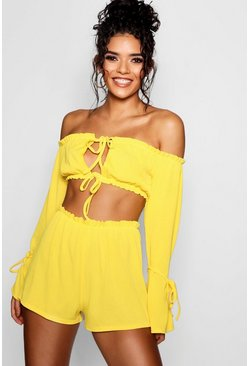 Yellow Ribbed Bardot Tie Detail Crop Short Co-ord