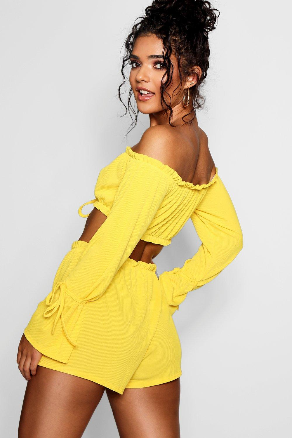 Bardot Detail ord Ribbed Crop yellow Co Tie Short AnZEdxqE