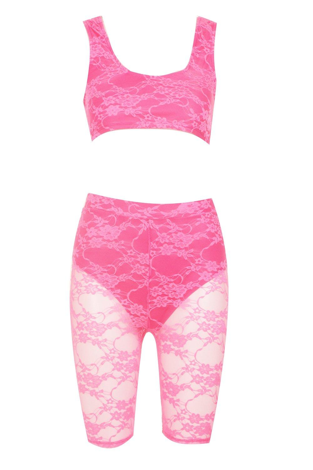 Neon Cycle Short Set Lace ord Co Crop pink rEqPavwr