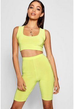 Womens Lime Slinky Square Neck Cycle Short Co-ord Set