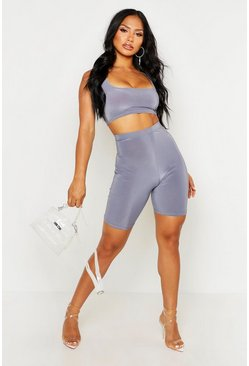 Womens Petrol Slinky Square Neck Cycle Short Co-ord Set