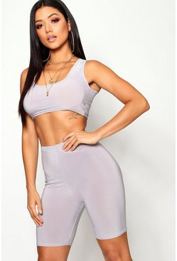 Womens Silver Slinky Square Neck Cycle Short Co-ord Set