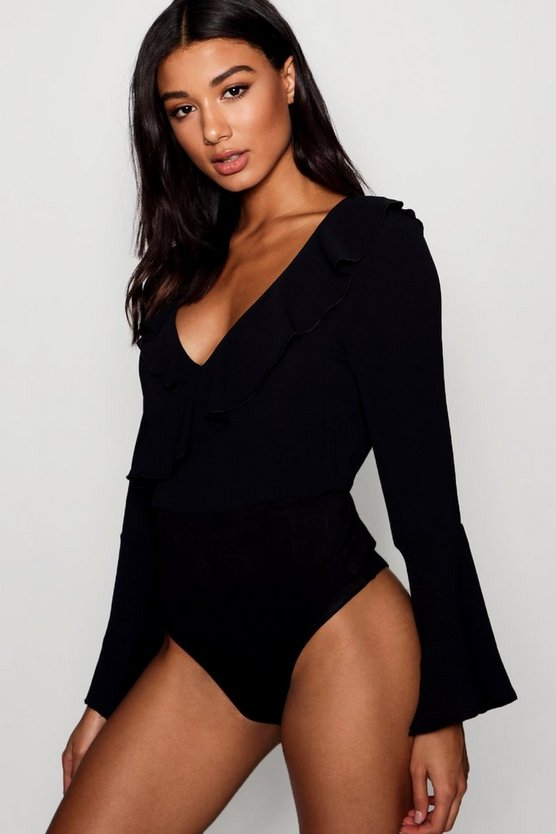 Womens Ruffle Wrap Bodysuit