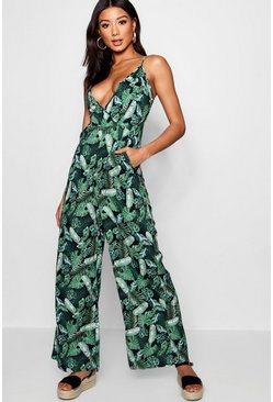 Womens Green Palm Print Wrap Front Jumpsuit