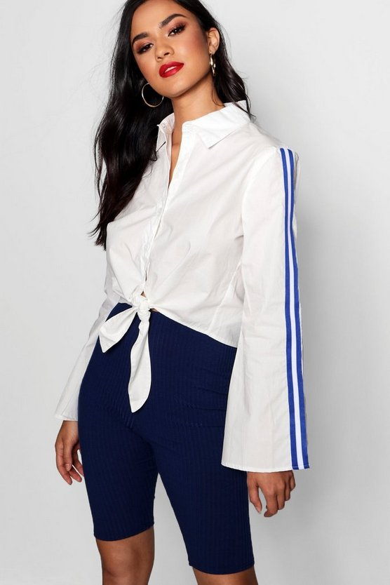 Tie Front Flare Sleeve Sports Stripe Shirt