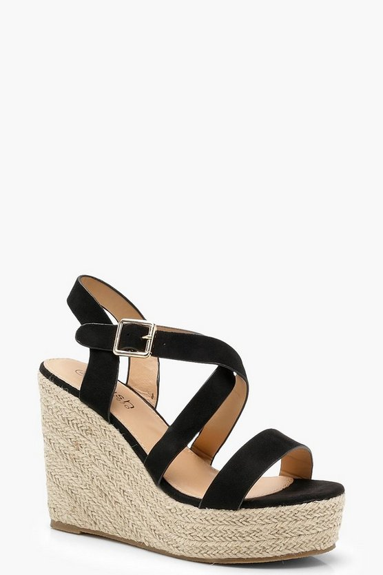 Womens Black Strappy Espadrille Wedges