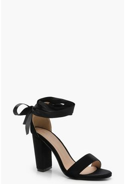 Womens Black Block Heel Ribbon Up Heels