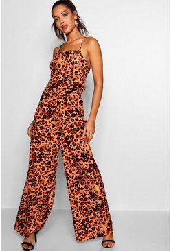Womens Orange Karla Square Neck Strappy Back Wide Leg Jumpsuit