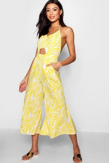 Womens Yellow Palm Jumpsuit