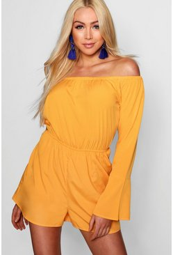 Womens Golden orange Off Shoulder Flute Sleeve Playsuit