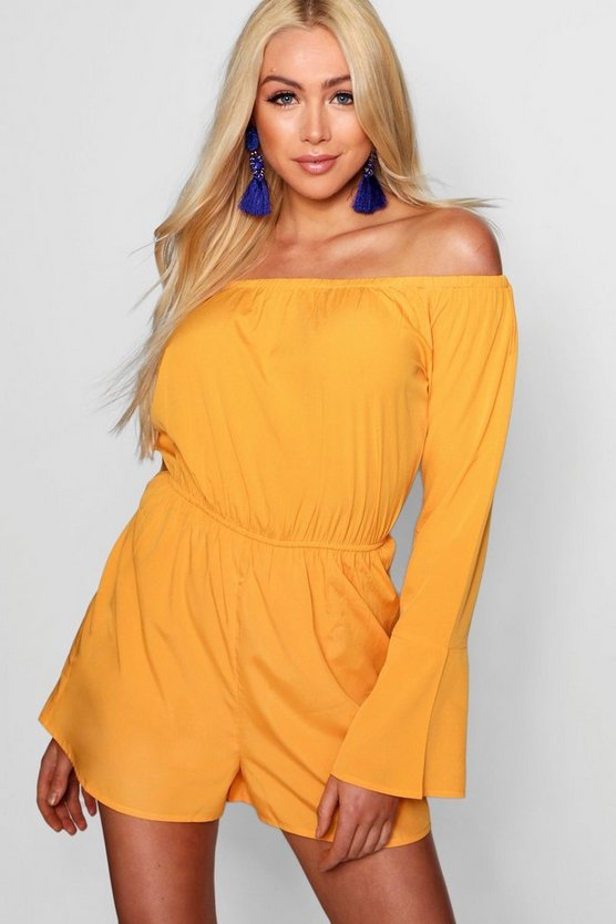 Off Shoulder Flute Sleeve Playsuit