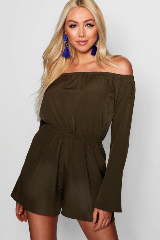 Khaki Off Shoulder Flute Sleeve Playsuit