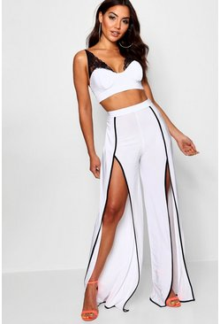 Womens White Lace Detail Crop and Split Trouser Co-ord