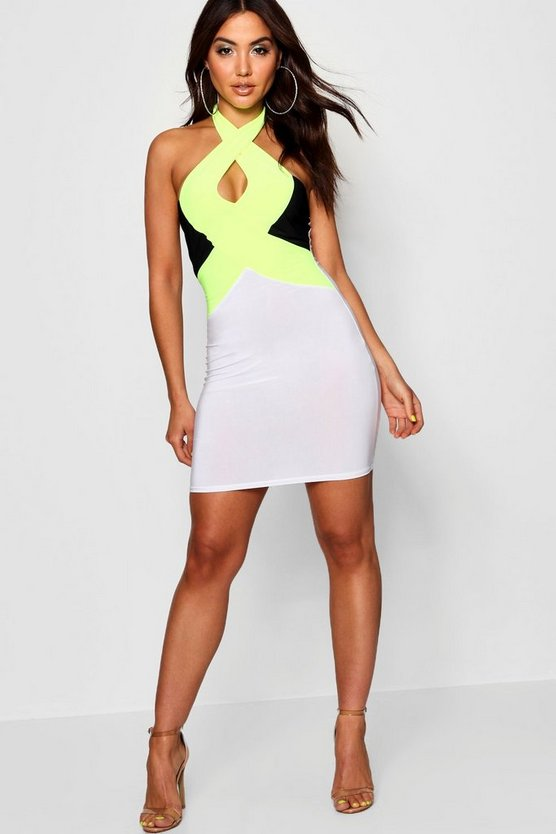 Halterneck Key Hole Detail Bodycon Dress