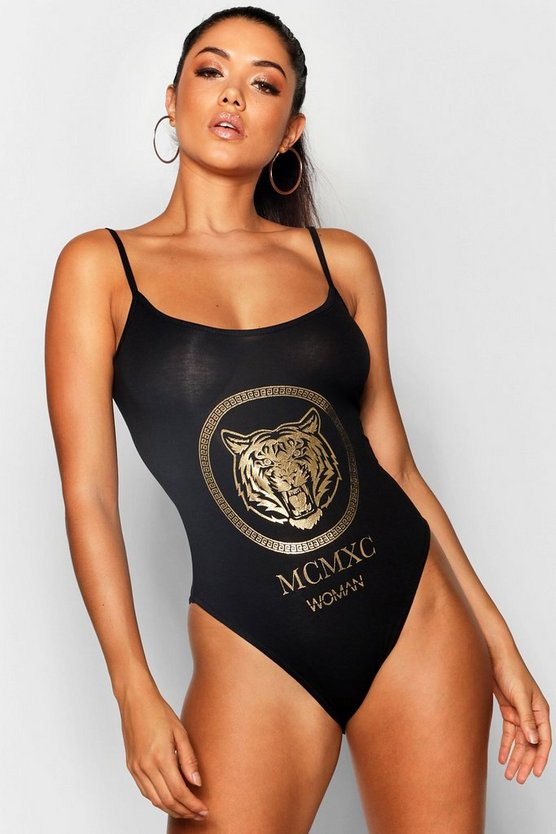 Cally Woman Foil Print Slogan Bodysuit