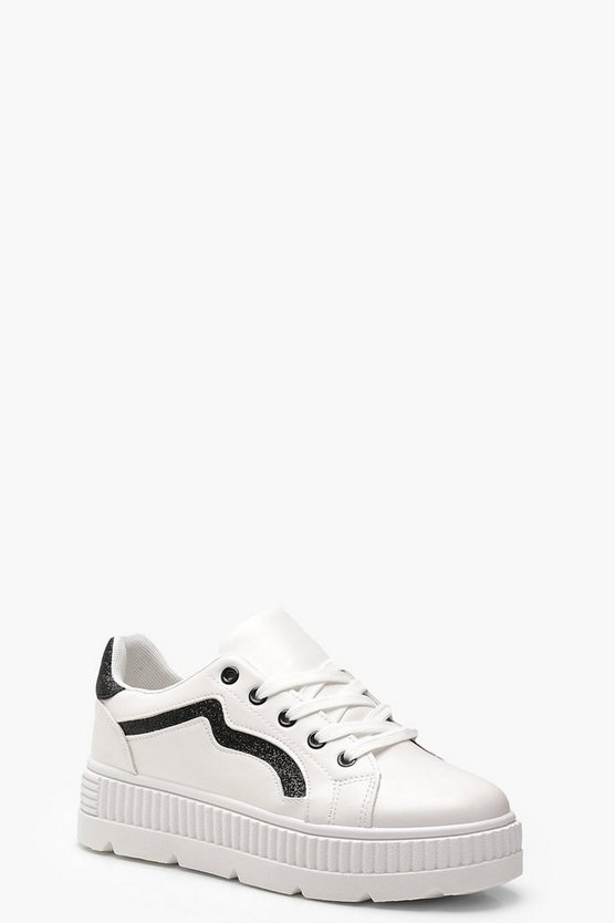 Womens Black Stripe Cleated Trainers