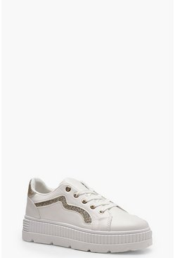 Womens Gold Stripe Cleated Trainers
