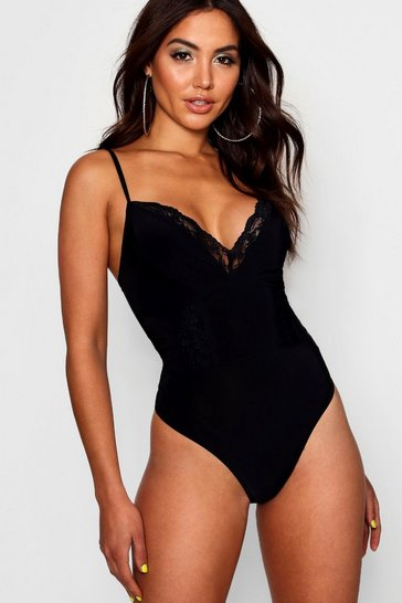 Womens Black Lace Detail Strappy Bodysuit