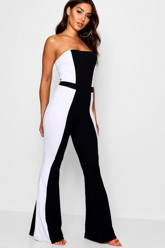 Panel Flare Leg Jumpsuit