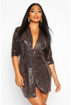 Womens Rose gold Metallic Blazer Mini Bodycon Dress