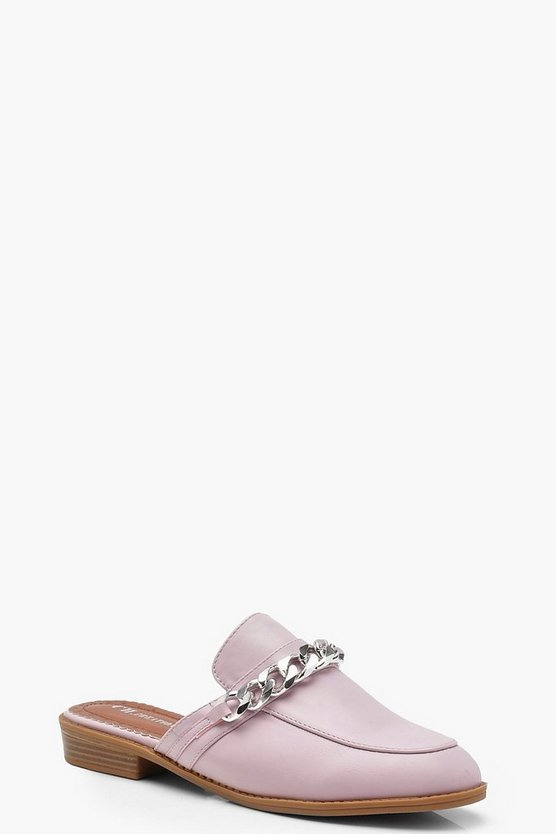 Chain Detail Mule Loafers