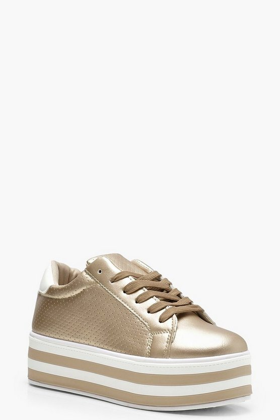 Womens Gold Platform Trainers
