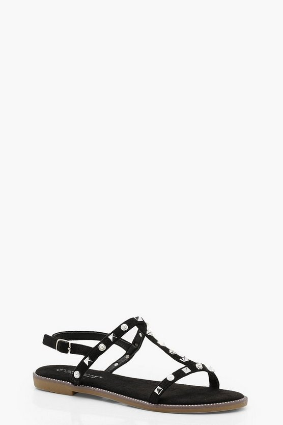 Stud Trim Gladiator Sandals