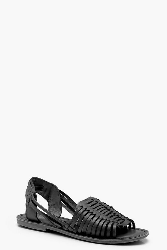 Womens Black Leather Woven Sandals