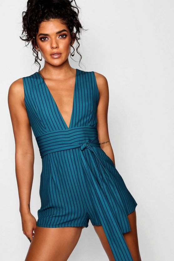 Stripe Tie Waist Playsuit