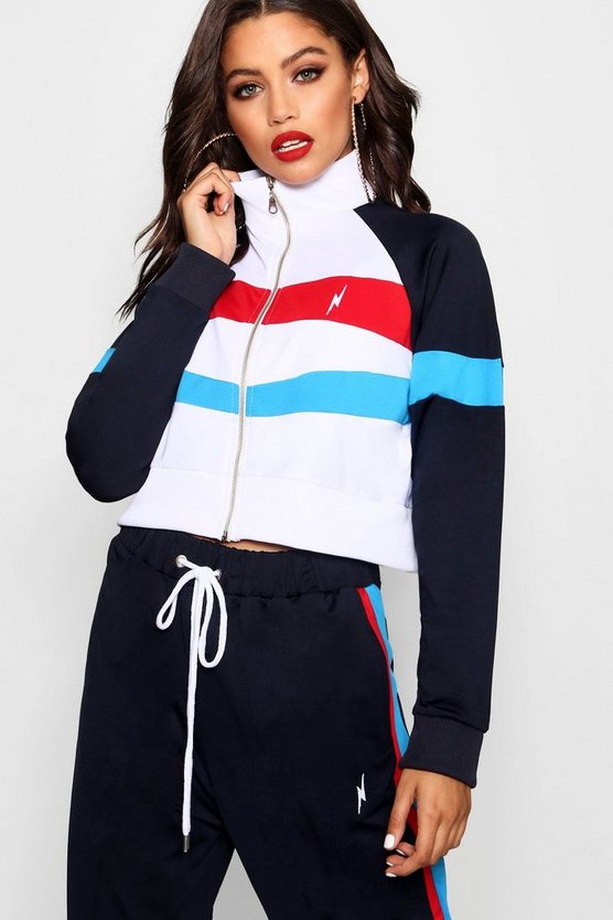 Pepsi x boohoo Colour Block Cropped Track Top