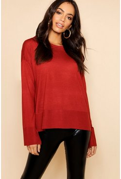 Womens Paprika Light Weight Crew Neck Sweater With Rib Cuff