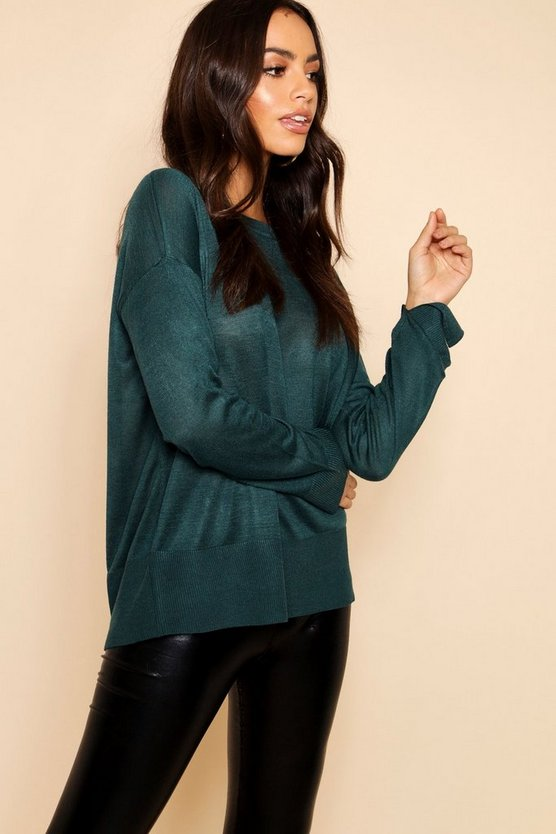 Light Weight Crew Neck Jumper With Rib Cuff