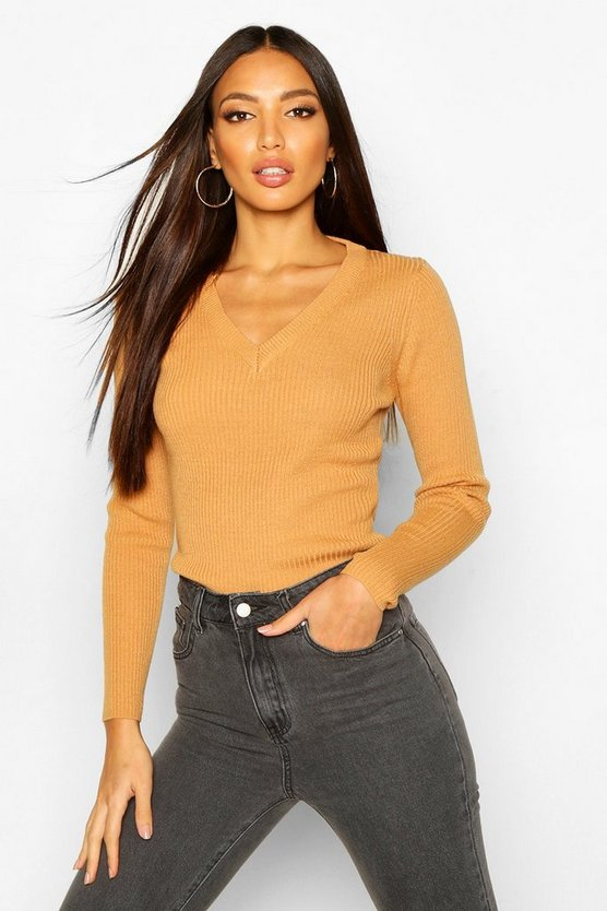 Camel Ribbed V-Neck Jumper