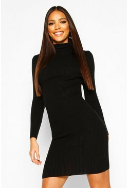 Womens Turtle Neck Ribbed Dress With Long Sleeve
