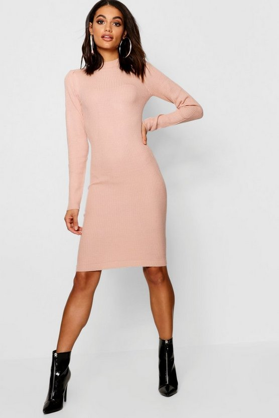 Turtle Neck Ribbed Dress With Long Sleeve