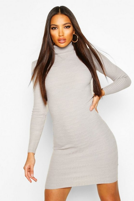 Grey Turtle Neck Ribbed Dress With Long Sleeve