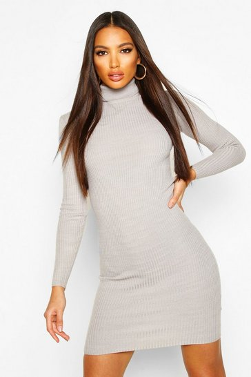 Womens Grey Turtle Neck Ribbed Dress With Long Sleeve