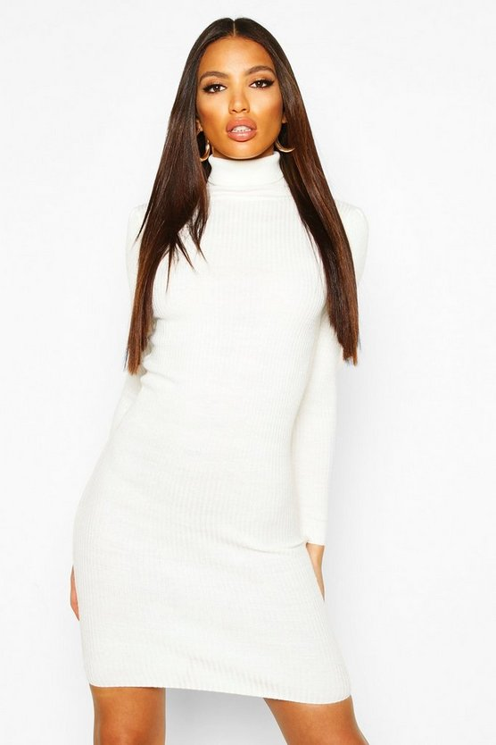 Ivory Turtle Neck Ribbed Dress With Long Sleeve