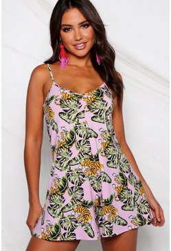 Pink Tropical Print Playsuit