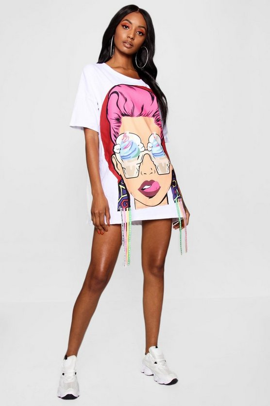Face Motif T-Shirt Dress