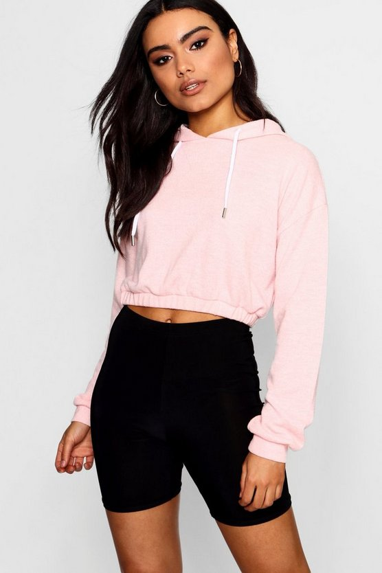 Brushed Fleece Cropped Elastic Hoody