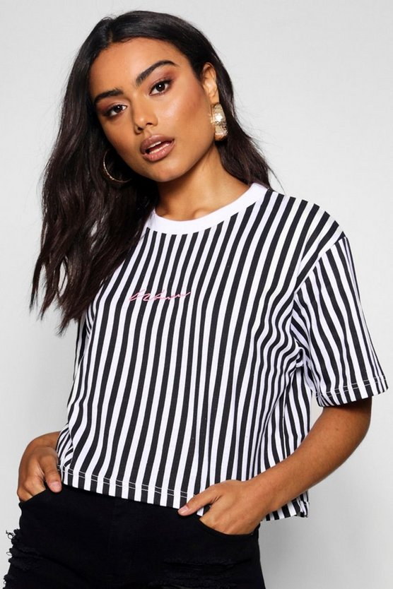 Womens Black Stripe Embroidered Woman Slogan Crop